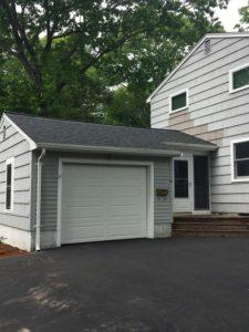 new asphalt roof garage