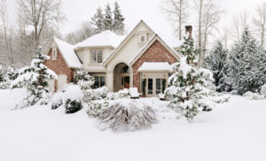 large house in snow