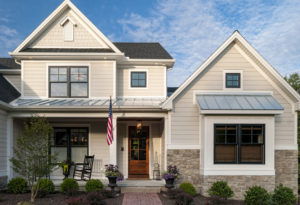 Tan and white James Hardie Siding Home