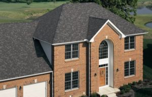 brick house with new roof