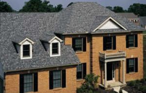 brick roof with gray shingles