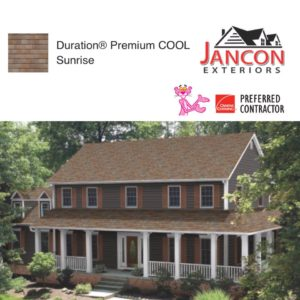 House with Duration Premium COOL Sunrise shingles