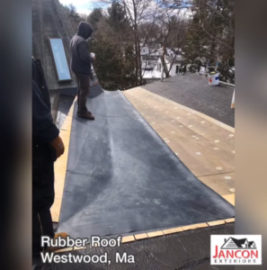 rubber roof being installed